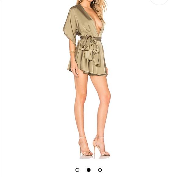 a5ce92f9af9 Lioness Other - Warhol Silk Romper in Olive